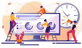 Teamworking Office People, Business Team Employees. Business Team Company Work Together at Huge Computer Monitor with Opened Browser Climbing by Ladder Planning royalty free illustration