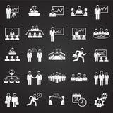 Teamworking set on black background. Icons royalty free illustration