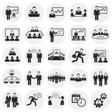 Teamworking set on circles background. Icons vector illustration