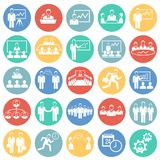Teamworking set on color circles background. Icons royalty free illustration