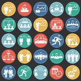 Teamworking set on color circles black background. Icons stock illustration