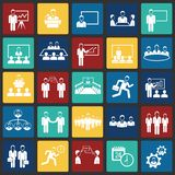 Teamworking set on color squares background. Icons stock illustration
