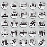 Teamworking set on plates background. Icons vector illustration