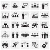 Teamworking set on squares background. Icons stock illustration