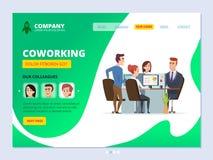 Teamworklandning Man för chefer för workspace för affär för orientering för Coworking begreppswebbsida och kvinnlig kontors stock illustrationer