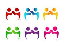 Teamworkpar av för folk logoen tillsammans royaltyfri illustrationer