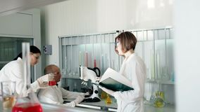 Teamworkreasercher i laboratoriumet som gör experiment arkivfilmer