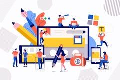 Teamworkrengöringsdukdesign och utveckling vektor illustrationer
