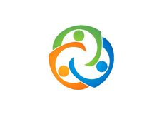 Teamworkutbildningslogo, samkväm, lag, nätverk, design, vektor, logotyp, illustration Arkivbild
