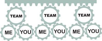 Teamzahntriebe mit Text Stockbild