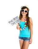 Teanager girl holding a Best Day sign Royalty Free Stock Photo