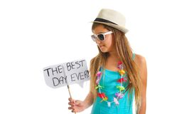 Teanager girl holding a Best Day sign Royalty Free Stock Image