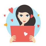Teanager girl reading a love letter. Flat vector. Stock Photography