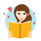 Teanager girl reading a love romance book. Flat vector royalty free illustration