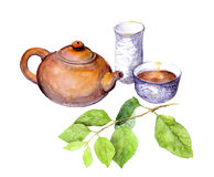 Teaparty: chinese teapot, tea cup and green leaves. Watercolor Royalty Free Stock Photography