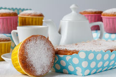 Teaparty, Sweet muffins and tea. Royalty Free Stock Photos