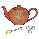 Teapot αγγειοπλαστικής ζάχαρη και σχέδιο χεριών κουταλιών Στοκ φωτογραφίες με δικαίωμα ελεύθερης χρήσης