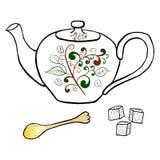 Teapot αγγειοπλαστικής ζάχαρη και σχέδιο χεριών κουταλιών Στοκ Εικόνα