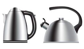 Teapot και κατσαρόλα Σύνολο σε ένα ρεαλιστικό ύφος διάνυσμα Στοκ φωτογραφία με δικαίωμα ελεύθερης χρήσης