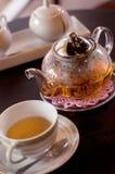 Teapot και φλυτζάνι γυαλιού στοκ φωτογραφία με δικαίωμα ελεύθερης χρήσης