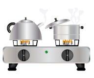 teapot κατσαρολλών μαστιγίων αερίου ελεύθερη απεικόνιση δικαιώματος