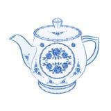 Teapot μέρος faience του διανύσματος πορσελάνης Στοκ Φωτογραφία