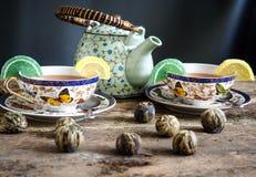 Teapot μαύρη τσαγιού πράσινη σφαίρα τσαγιού πινάκων τσαγιού παλαιά Στοκ Φωτογραφίες