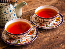 Teapot μαύρος τσαγιού πράσινος τρύγος πινάκων τσαγιού παλαιός Στοκ Εικόνες