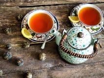 Teapot μαύρο πράσινο τσάι τσαγιού Στοκ Εικόνες