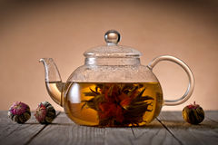 Teapot με το ανθίζοντας λουλούδι τσαγιού Στοκ φωτογραφίες με δικαίωμα ελεύθερης χρήσης