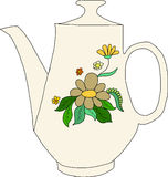 Teapot με το υπόβαθρο λουλουδιών Στοκ φωτογραφία με δικαίωμα ελεύθερης χρήσης