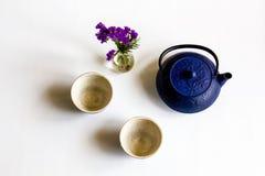 Teapot που τίθεται στο μπλε στοκ εικόνες