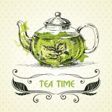 Teapot πράσινο τσάι Στοκ Εικόνα