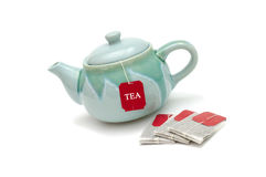 Teapot, τσάντες τσαγιού Στοκ εικόνες με δικαίωμα ελεύθερης χρήσης