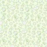 teapot τσαγιού καφέ μικρό λευκό Άνευ ραφής σχέδιο στο doodle και το ύφος κινούμενων σχεδίων συρμένο χέρι Πράσινος απεικόνιση αποθεμάτων