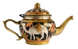Teapot χαλκού με το applique Στοκ Φωτογραφία