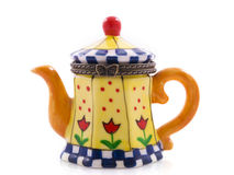The teapot. Colorfull home painted teapot isolated on a white background Royalty Free Stock Image