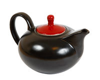 Teapot. Black ceramic teapot isolated. With clipping path Royalty Free Stock Photo