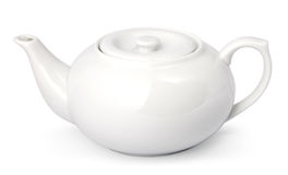 Teapot. White ceramic teapot isolated. With clipping path Stock Photo