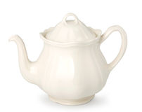 Teapot. White ceramic teapot isolated. With clipping path Royalty Free Stock Image