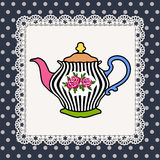 Teapot. Abstract illustration of teapot with roses on lace frame and polka dot background Royalty Free Stock Photo