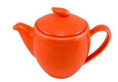 Teapot. Red teapot, isolated on white, clipping path included Stock Photos