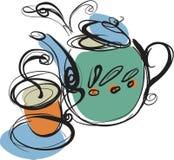 Teapot. A teapot and A cup of hot tea Royalty Free Stock Photos