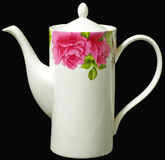 Teapot. Pot for brewing tea;usually  has a spout and handle. A pattern is a red peony Royalty Free Stock Photo