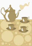 Teapot. A  illustration of a teapot and cups Royalty Free Stock Images