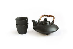 Teapot & copos orientais pretos foto de stock royalty free