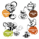 Teapot And Cups Icons Set Stock Images