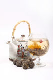 Teapot And Glass With A Flower Green Tea Royalty Free Stock Photography