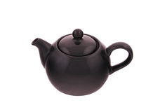 Teapot the black glossy Royalty Free Stock Photos