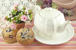 Teapot With Blueberry Muffins Royalty Free Stock Image